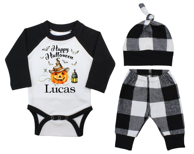 Boy Personalized Halloween Jack-o-Lantern Outfit Fall Baby Raglan Outfit Fall Pants Knot Hat Pumpkins Black White Plaid Baby Bodysuit Raglan