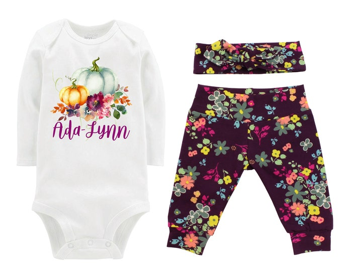 Girl Fall Pumpkin Outfit Personalized Plum Floral Yoga Leggings Headband Infant Fall Outfit Floral Pumpkins Purple Orange Name