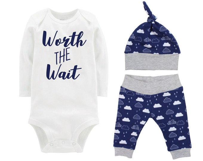 Boy Worth the Wait Going Home Outfit Onesie Bodysuit Infant Gift Set Blue Clouds Boy Coming Home Set Baby Shower Gift Newborn Outfit for Boy