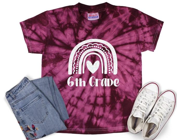 6th Grade Girl Back To School Pastel Minty Tie Dye Shirt Galaxy Bright Black Glitter Vinyl White Rainbow Girl First Day of School Shirt