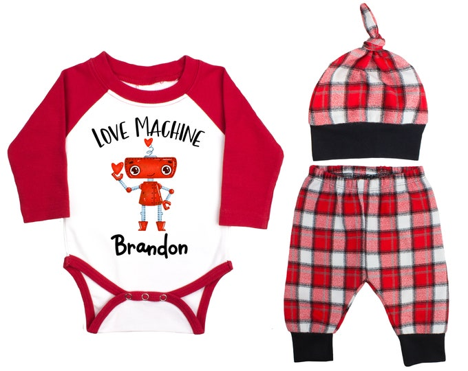 Baby Boy Valentine's Day Robot Love Machine Personalized Raglan Outfit Boy Valentine's Day Bodysuit Buffalo Plaid Flannel Pants Knot Hat