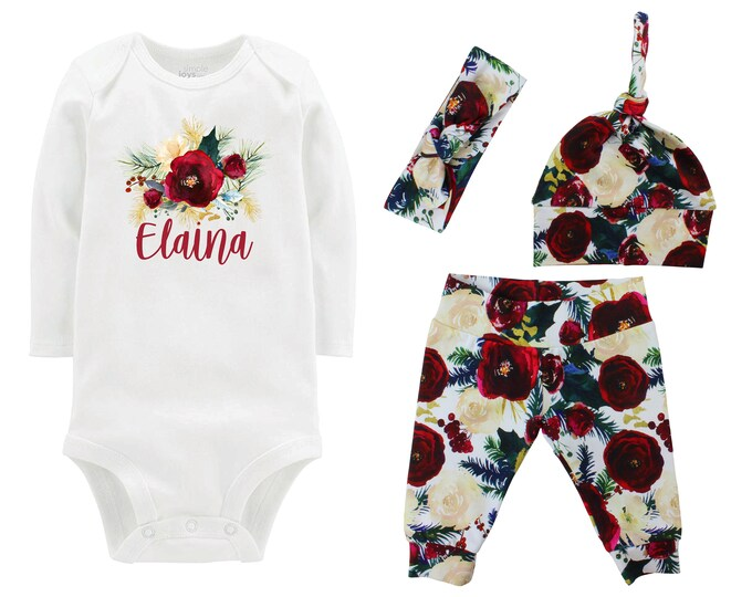 Personalized First Christmas Outfit Rose White Red Watercolor Floral Yoga Leggings Headband Infant Winter Outfit Green Gold Burgundy Maroon