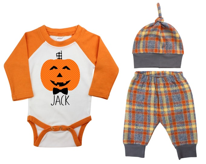 Personalized Jack-o-Lantern Halloween Outfit Fall Baby Raglan Orange Flannel Plaid Pants Knot Hat Pumpkins Brown Jack Gray Baby Raglan