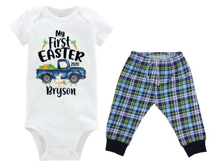 Boy First Easter Outfit Personalized Baby Easter Bunny Truck Boy Plaid Pants Carrots Going Home Outfit Green Navy Boy Baby Gift Boyish Bunny