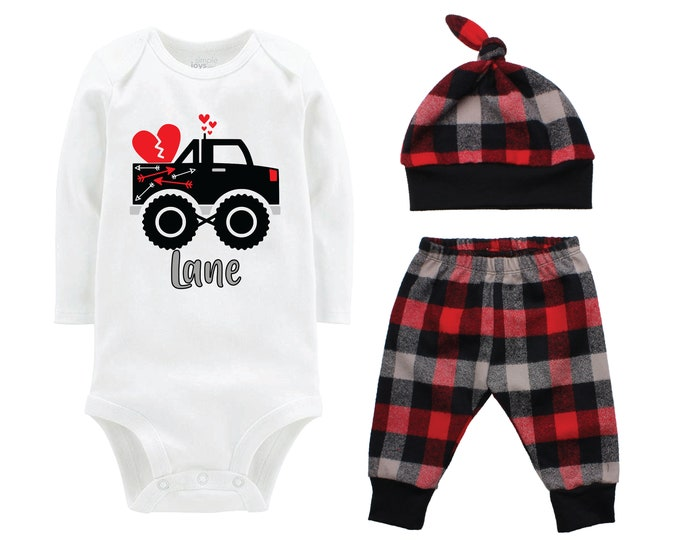 Boy Valentine's Day Outfit Monster Truck Personalized Red Gray Black Buffalo Plaid Pants Hat Boyish Valentine Bodysuit Hearts Valentine