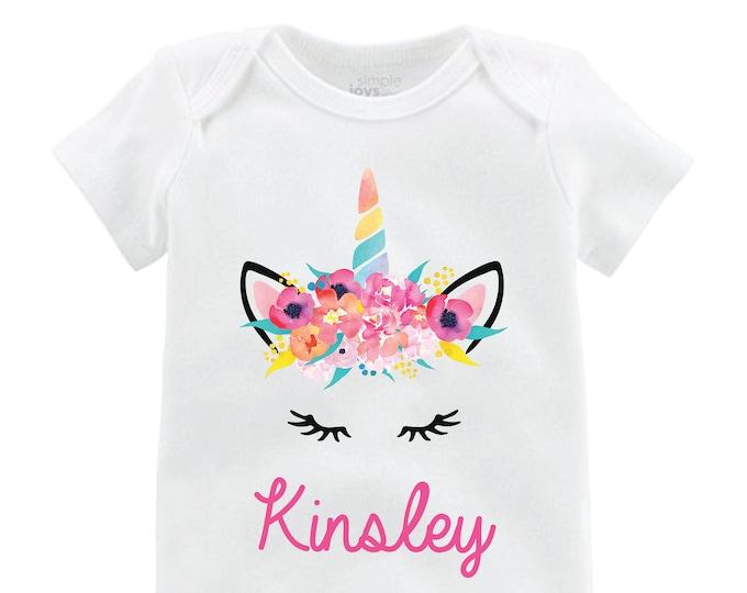 Unicorn Face Bodysuit Personalized Flutter Sleeve Unicorn Shirt Black Raglan Birthday Shirt Girl Shirt Monogram Shirt Tropical Bright