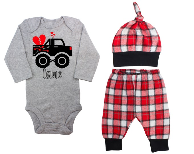 Baby Boy Valentine's Day Monster Truck Personalized Outfit Valentines Day Hearts Truck Bodysuit Baby Boy Buffalo Plaid Flannel Pants