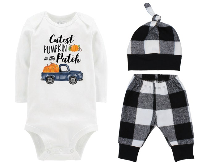 Fall Boy Cutest Pumpkin in the Patch Bodysuit Fall Baby Outfit Boy Pumpkin Black And White Plaid Pants Leggings Baby Gift Top Knot Hat Boy