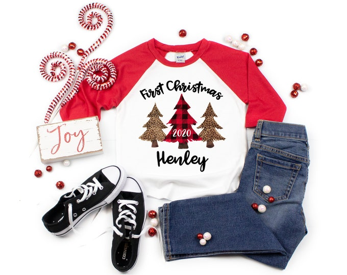 Girl First Christmas 2020 Red Plaid Leopard Christmas Trees Personalized Red Black Personalized Raglan Unisex Christmas Winter Girl Shirt