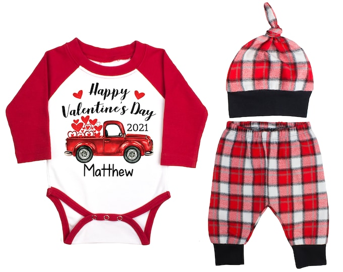 Happy Valentine's Day 2021 Truck Personalized Raglan Outfit Boy Valentines Day Bodysuit Hearts Vintage TruckBuffalo Plaid Flannel Pants