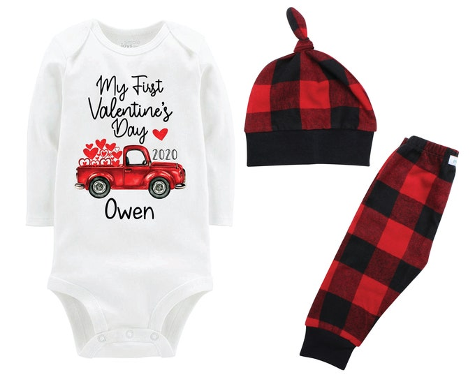 Boy First Valentine's Day Outfit Personalized Old Red Truck Buffalo Plaid Pants Hat Boyish Valentine Bodysuit Hearts Valentine Truck