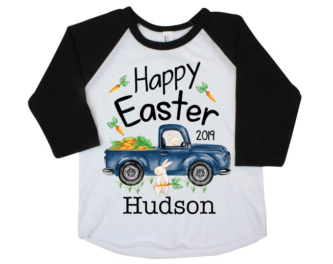 Boy Easter Shirt Happy Easter Truck Shirt Bunny Raglan Personalized Baby Easter Onesie Easter Bunny Truck and Carrots Bunny Name Shirt
