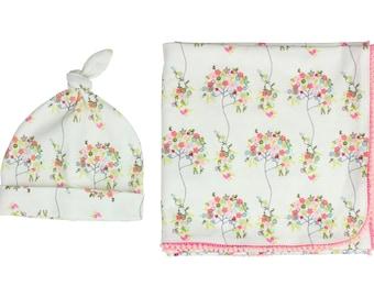 f8762fb0eb2 Newborn Swaddle Set Swaddle Blanket Top Knot Hat Knot Headband Floral Aqua  Pink Pom Pom Blanket Jersey Swaddle Baby Blanket