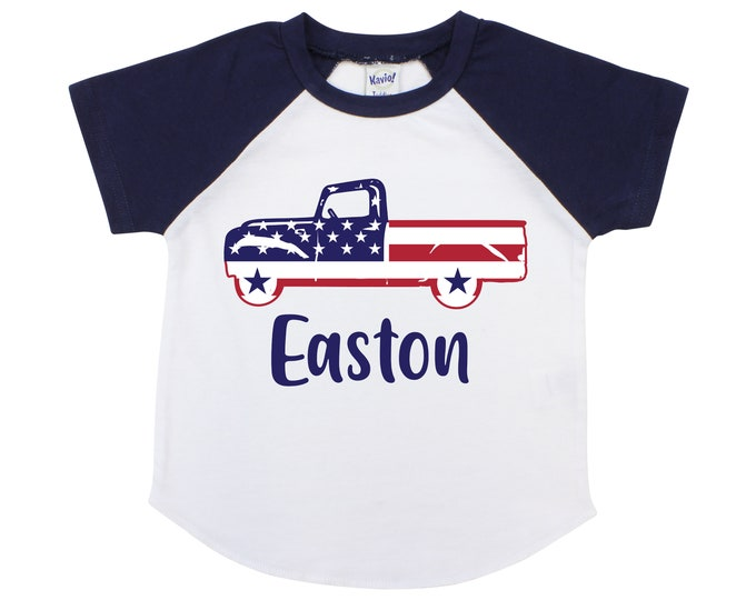 Memorial Day Boy Truck Shirt American Flag Truck Personalized Old Blue Truck Fourth of July 4th of July Boy Shirt Name Monogram Red Blue