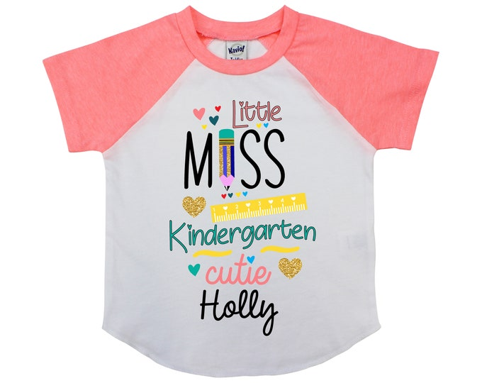 Little Miss Kindergarten Cutie Personalized Back to School Shirt Girl Back to School Pencil Shirt Name Shirt Raglan