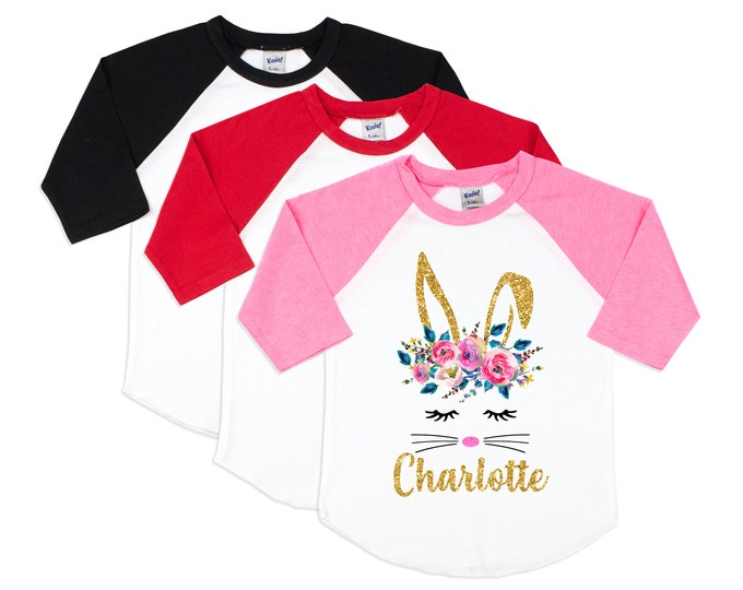 Girl Easter Bunny Face Shirt Watercolor Bunny Glitter Bunny Rabbit Personalized Gold Glitter Name Monogram Bunny Easter Floral Pink Raglan