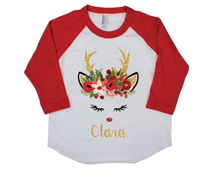 Girl Reindeer Shirt Girl Christmas Shirt Personalized Raglan Red Ruffle Raglan Bodysuit Onesie Gold Sparkle Christmas Floral Reindeer Face