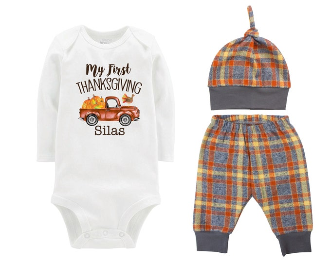 My First Thanksgiving Turkey Fall Personalized Vintage Truck Outfit Pumpkin Orange Gray Flannel Pants Baby Bodysuit Shirt Gift Top Knot Hat