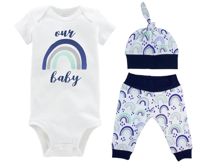 Boy Our Rainbow Baby Going Home Outfit Coming Home Watercolor Rainbow Yoga Pants Knot Hat Infertility Miscarriage Infant Loss Blue Gray Mint