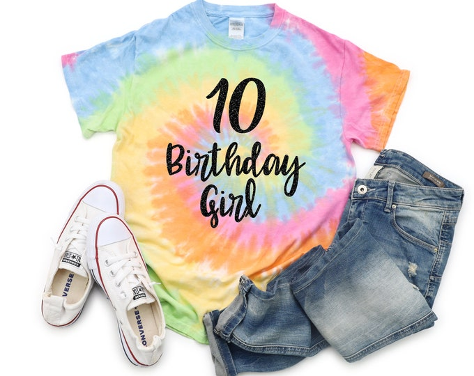 Birthday Girl Tie Dye Shirt Personalized Bright Black Glitter Vinyl Birthday Girl Shirt Birthday Party Shirt Girl Tie Dye Birthday Shirt