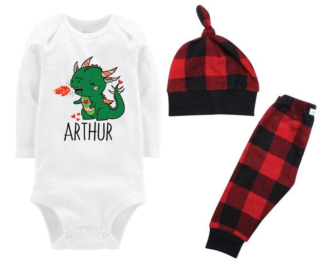 Boy Valentine's Day Outfit Dragon Personalized Red Black Buffalo Plaid Pants Hat Boyish Valentine Bodysuit Dragon Breathing Hearts Valentine
