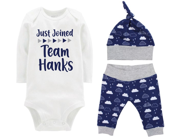 Boy Just Joined Team Last Name Personalized Coming Home Outfit Onesie Bodysuit Infant Gift Blue Clouds Boy Going Home Set Baby Shower Gift