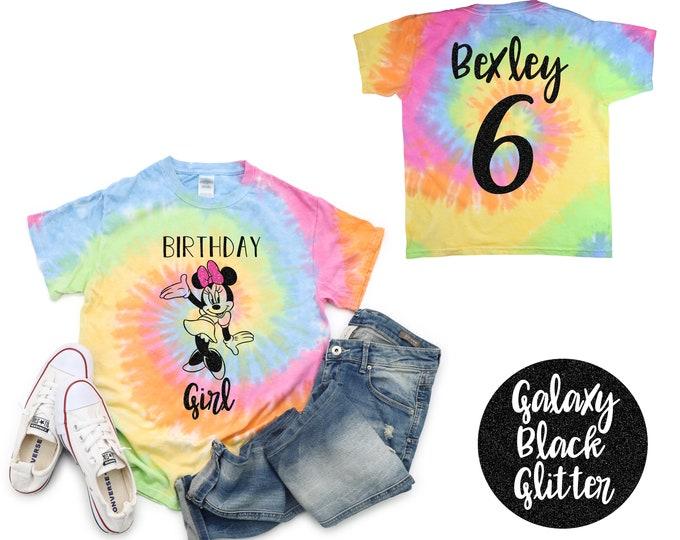 Birthday Girl Minnie Mouse Bow Pastel Neon Tie Dye Shirt Black Glitter Vinyl Birthday Girl Shirt Birthday Party Shirt Girl Birthday Shirt