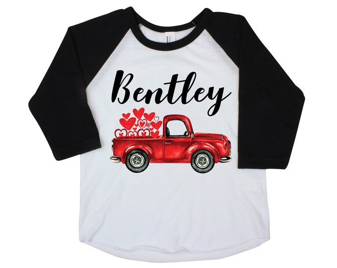 Boy Valentine's Day Shirt Red Truck Hearts Raglan Old Red Truck Boy Toddler Baby Shirt Red Black Boy Valentine Shirt Hearts Kids