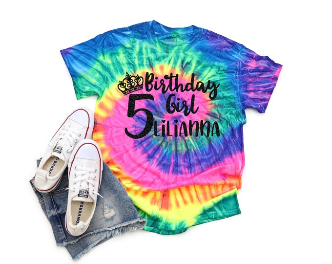 Birthday Girl Neon Personalized Tie Dye Shirt Bright Black Glitter Vinyl Princess Crown Birthday Girl Birthday Party Shirt Tie Dye Birthday