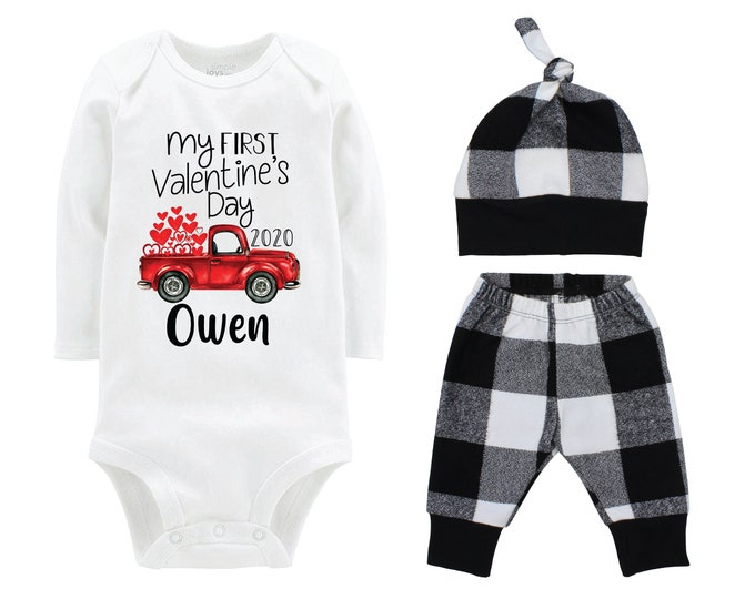 Boy First Valentine's Day Outfit Personalized Old Red Truck White Buffalo Plaid Pants Hat Boyish Valentine Bodysuit Hearts Valentine Truck