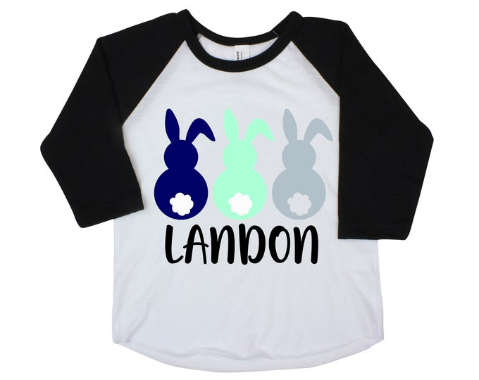 Boy Easter Peeps Bunny Raglan Personalized Cotton Tail Bunnies Gray Blue Mint Baby Easter Onesie Easter Bunny Shirt Monogram Name Shirt