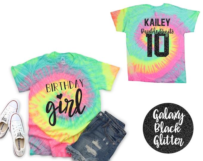 Birthday Girl Reactive Double Digits Personalized Tie Dye Shirt Galaxy Bright Black Ten Tenth Birthday Party Shirt Girl Birthday Shirt
