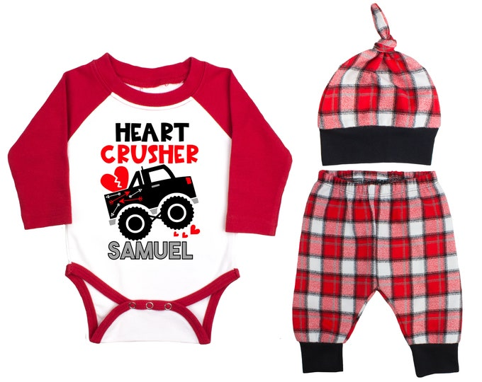 Baby Boy Valentine's Day Monster Truck Personalized Raglan Outfit Valentines Day Heart Crusher Bodysuit Baby Boy Buffalo Plaid Flannel Pants