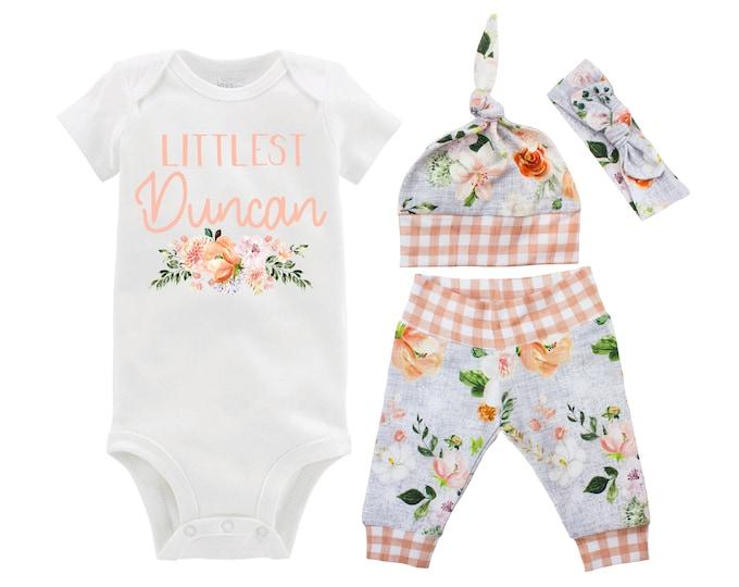 Girl Going Home Newborn Outfit Littlest Last Name Baby Set Orang Gray Wedding Floral Yoga Leggings Knot Headband Flower Infant Gift Set