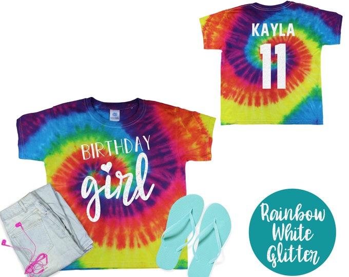 Birthday Girl Pastel Neon Tie Dye Shirt Galaxy Bright Black Glitter Vinyl Birthday Girl Shirt Birthday Party Shirt Girl Birthday Shirt