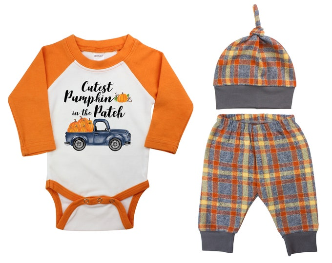 Boy Cutest Pumpkin In The Patch Outfit Fall Baby Raglan Outfit Fall Plaid Pants Knot Hat Pumpkins Old Truck Orange Gray Orange Baby Raglan