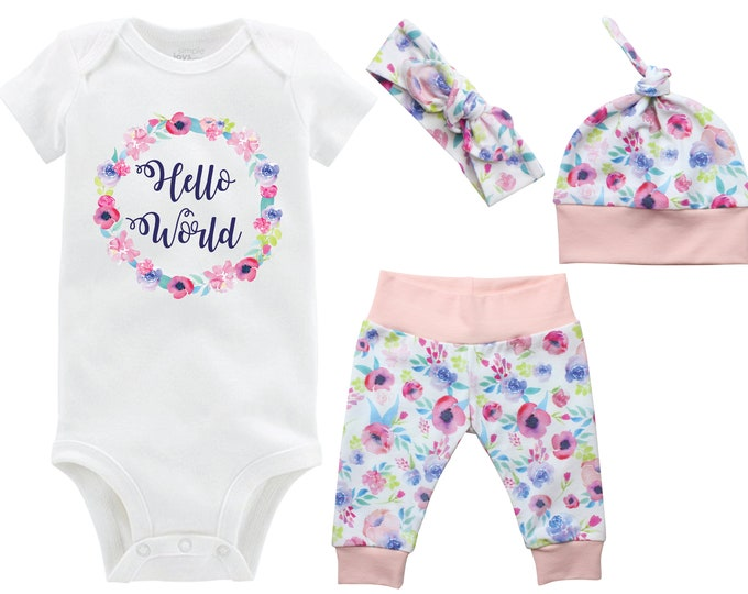 Hello World Girl Going Home Outfit Newborn Baby Onesie Infant Set Watercolor Floral Yoga Leggings Top Knot Hat Headband Infertility Onesie
