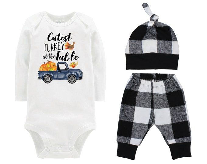 Boy Cutest Turkey At The Table Fall Truck Shirt Outfit Bodysuit Pumpkin Plaid Black White Plaid Flannel Pants Baby Gift Top Knot Hat