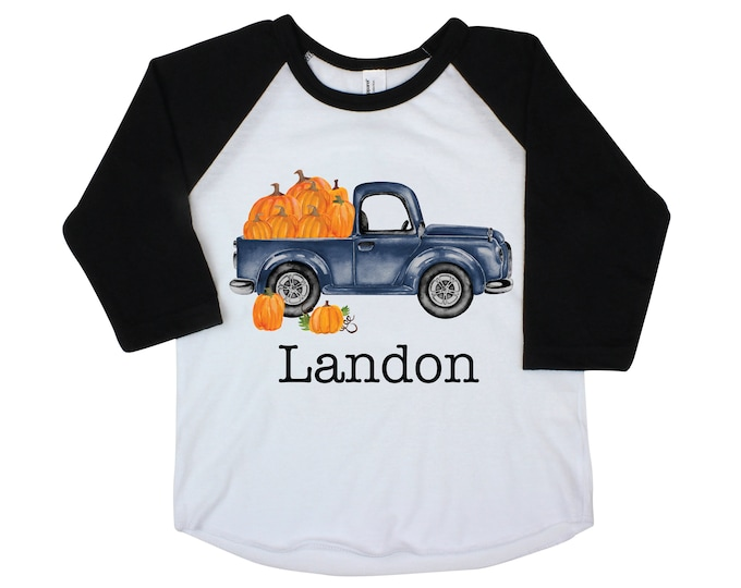 Boy Pumpkin Truck Shirt Personalized Raglan Fall Boy Shirt Pumpkin Patch Shirt Halloween Shirt Boy Truck Shirt Old Blue Truck Shirt Fall
