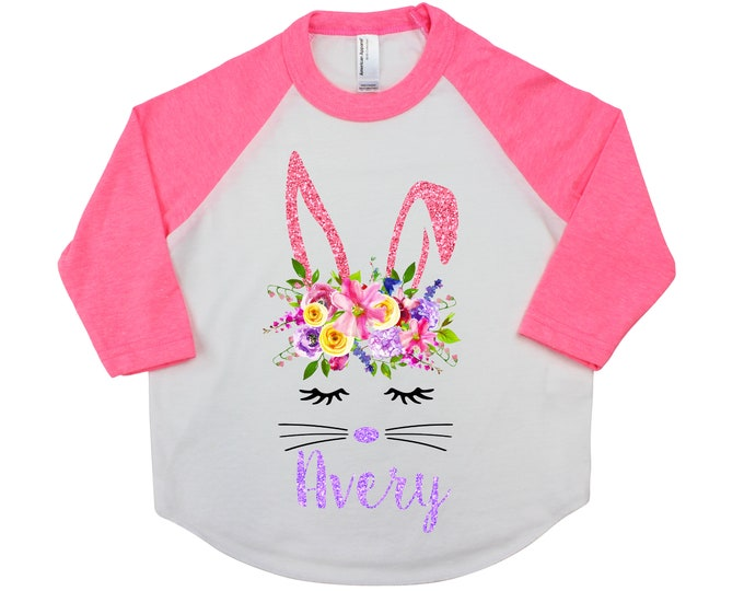 Easter Bunny Face Personalized Girl Easter Shirt Watercolor Floral Bunny Spring Bunny Pink Raglan Shirt Pink Purple Bright Bunny Flowers