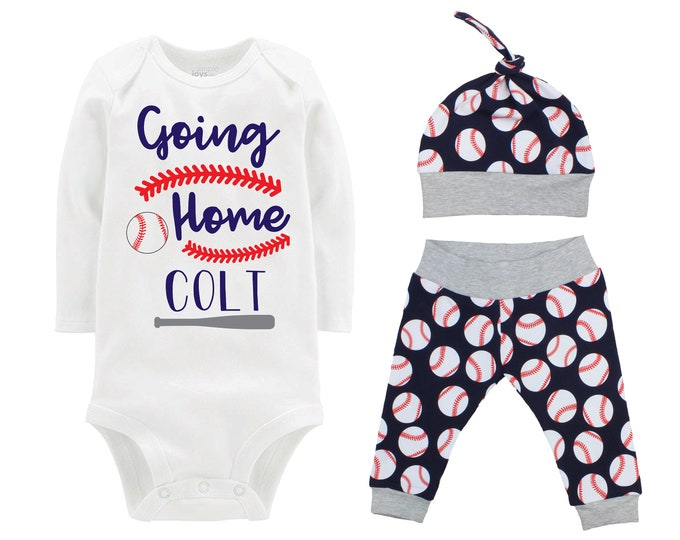 Boy Baseball Going Home Outfit Take Me Home Personalized Baby Coming Home Outfit Yoga Pants Navy Blue Gray Baseball Boy Knot Hat Baby Gift