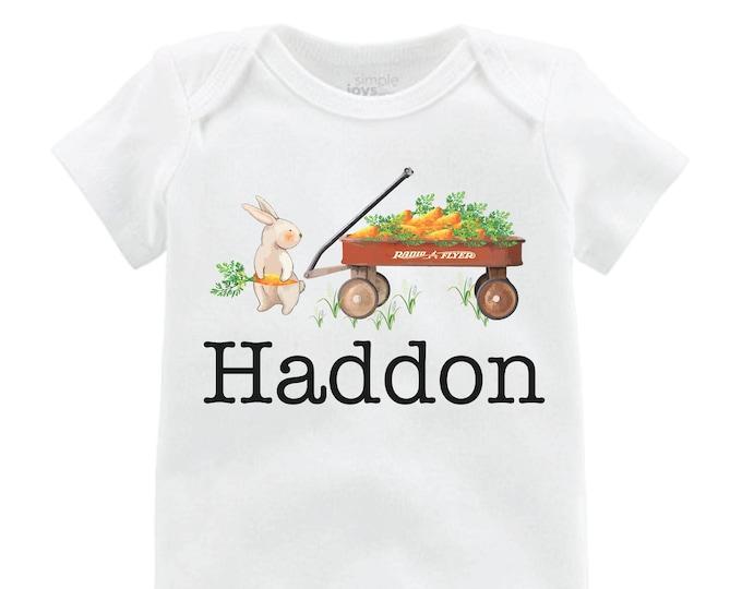 Boy Easter Shirt Bunny Onesie Personalized Wagon Shirt Baby Easter Shirt Easter Bunny Wagon and Carrots Bunny Shirt Monogram Name Shirt