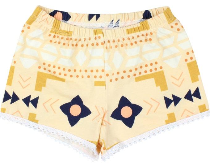 Gold Aztec Tribal Baby Shorts Toddler Shorts Girl Shorts Cluny Lace Trim Shorts Tribal Toddler Shorts Tribal Shorts Aztec Shorts Gold Shorts