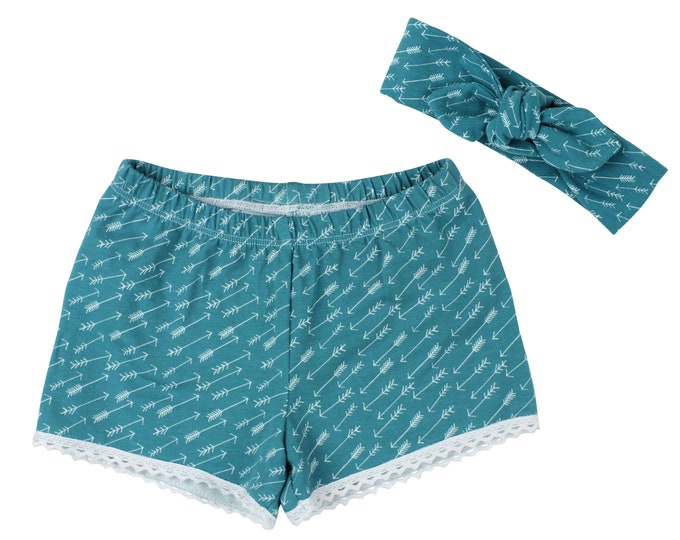 Girls Shorts Baby Shorts Lace Trimmed Shorts Baby Headband Teal Arrows Cute Girl Pattern Child American Made Handmade Girl Baby Clothing
