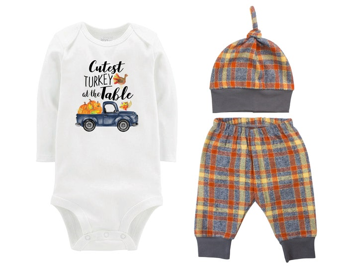 Boy Cutest Turkey At The Table Fall Truck Shirt Outfit Bodysuit Pumpkin Plaid Orange Gray Plaid Flannel Pants Baby Gift Top Knot Hat