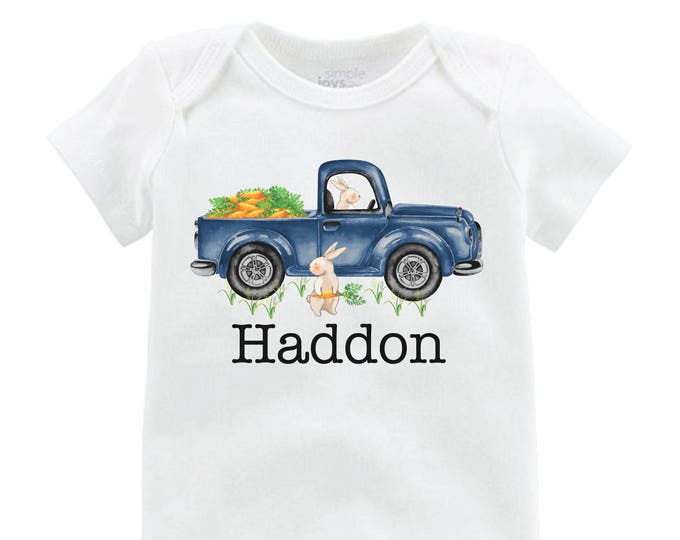 Boy Easter Shirt Truck Shirt Bunny Onesie Personalized Baby Easter Shirt Easter Bunny Truck and Carrots Bunny Shirt Monogram Name Shirt