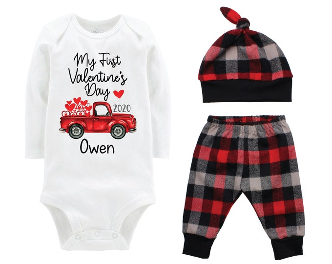 Boy First Valentine's Day Outfit Personalized Old Red Truck Red Gray Buffalo Plaid Pants Hat Boyish Valentine Bodysuit Hearts Valentine