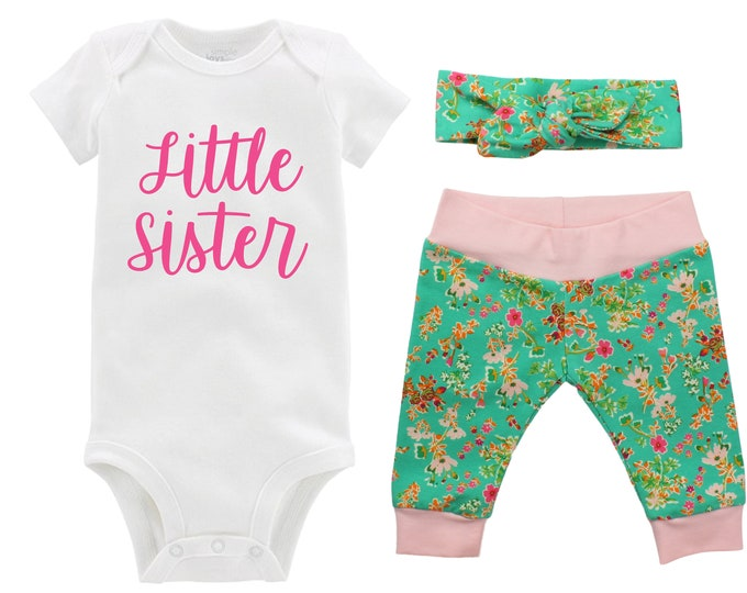 Little Sister Going Home Newborn Outfit Baby Infant Set Green Pink Floral Yoga Leggings Knot Headband Green Flower Infant Gift Set