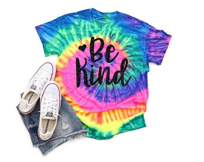 Be Kind Girl Neon Pastel Tie Dye Shirt Galaxy Bright Black Glitter Vinyl Inspirational Shirt Party Shirt Girl Tie Dye Motivational Shirt