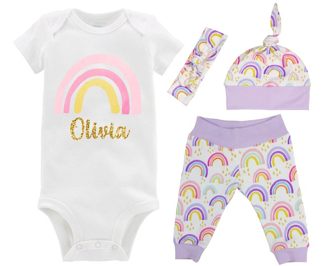 Girl Rainbow Baby Coming Home Outfit Personalized Glitter Watercolor Rainbow Yoga Leggings Knot Hat Headband Miscarriage Infant Loss
